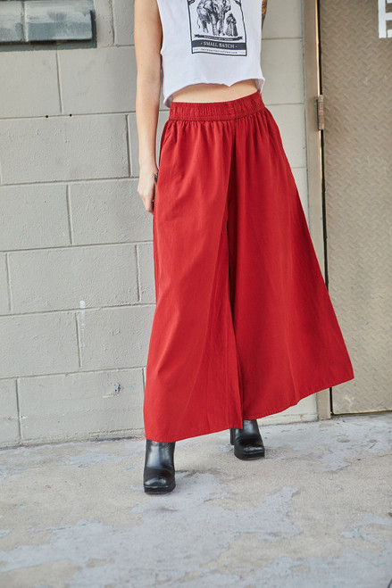 Cropped Cotton Pants - Rust