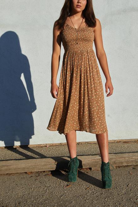 Floral Smocked Midi Dress - Brown Sugar