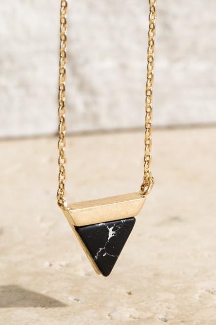 Triangle Pendant - Black/Gold