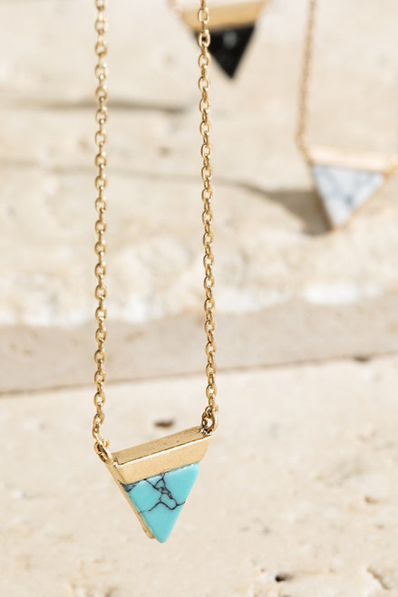 Triangle Pendant - Turquoise/Gold