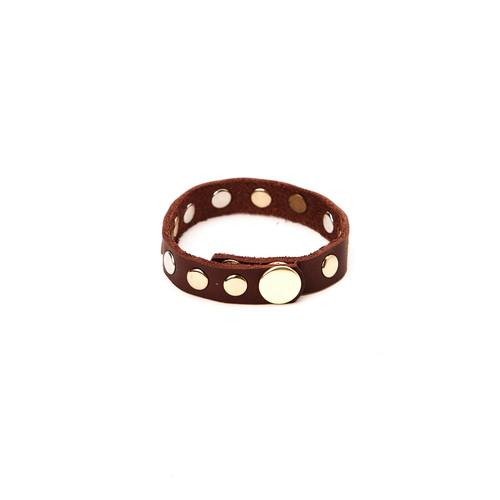 RRL Leather Rivet Bracelet - Brown/Mixed Metal