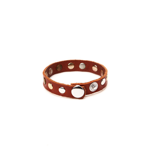 RRL Leather Rivet Bracelet - Tan/Mixed Metal