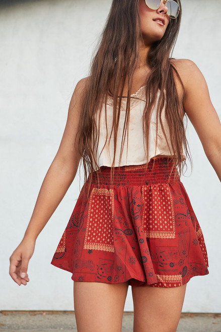 Smocked Waist Flare Shorts - Brick