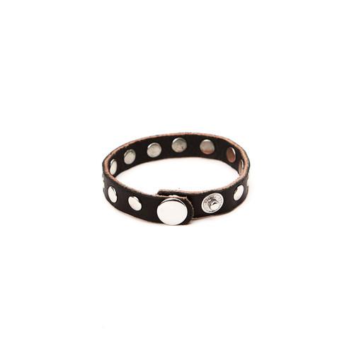 RRL Leather Rivet Bracelet - Black/Silver