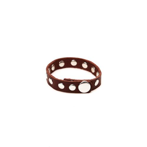 RRL Leather Rivet Bracelet - Brown/Silver