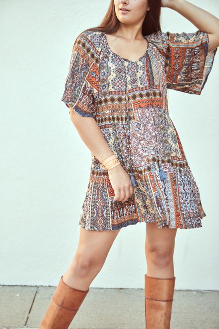 Boho Patchwork Dress - Rust