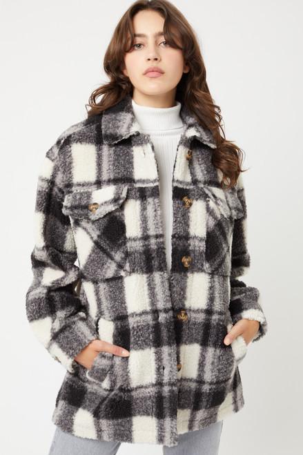 Sherpa Plaid Jacket - Black