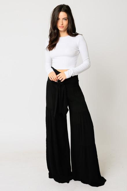Waist Tie Wide Leg Pants - Black