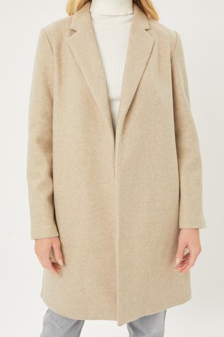 Fleece Long Line Coat - Oatmeal