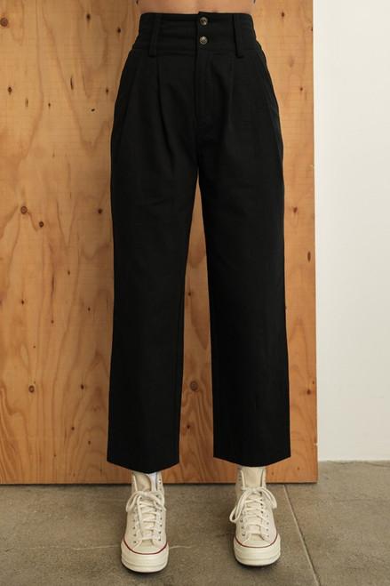 Kate Double Button High Waist Pants - Black