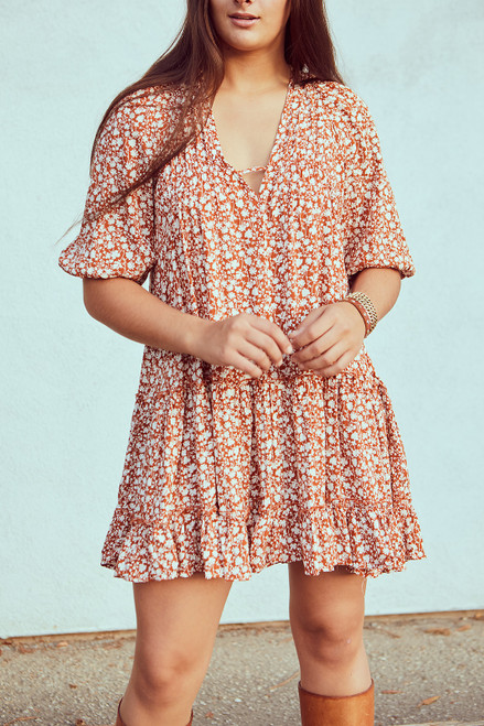 Ditsy Tiered Dress - Spice