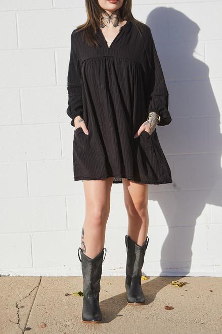 Textured Stripe Baby Doll Dress - Black