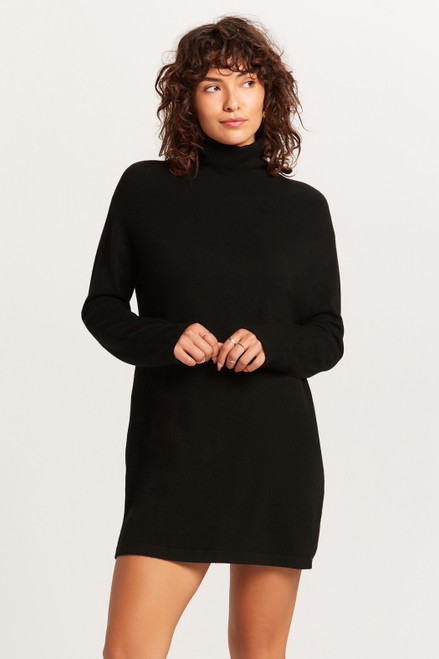 Turtleneck Sweater Dress - Black