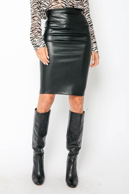 Faux Leather Pencil Skirt - Black