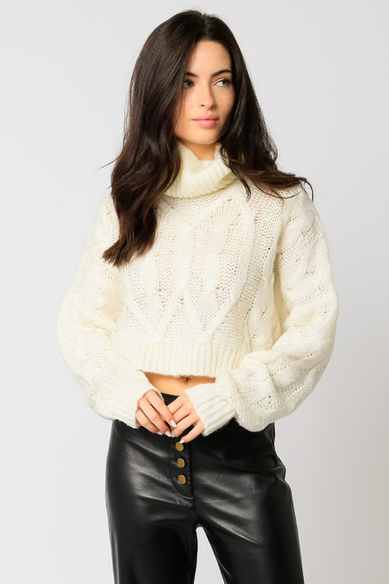 Cable Knit Turtleneck - Ivory