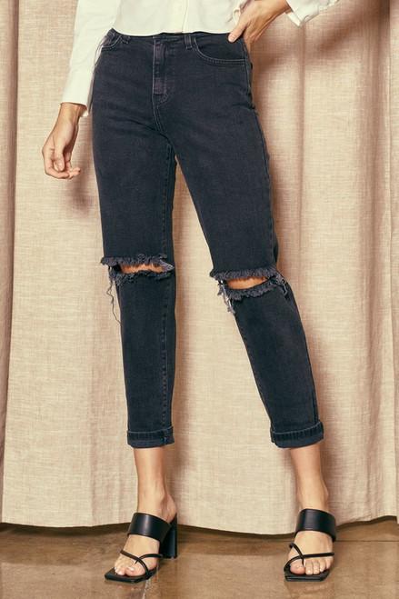 High Waisted Boyfriend Jeans - Vintage Black