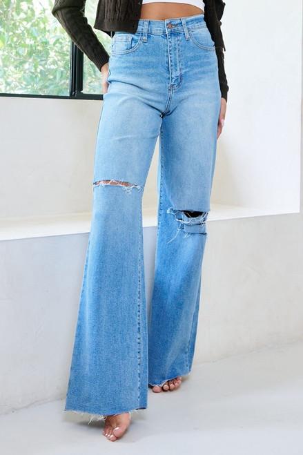 Distressed Wide Fit Jean - Medium Stone