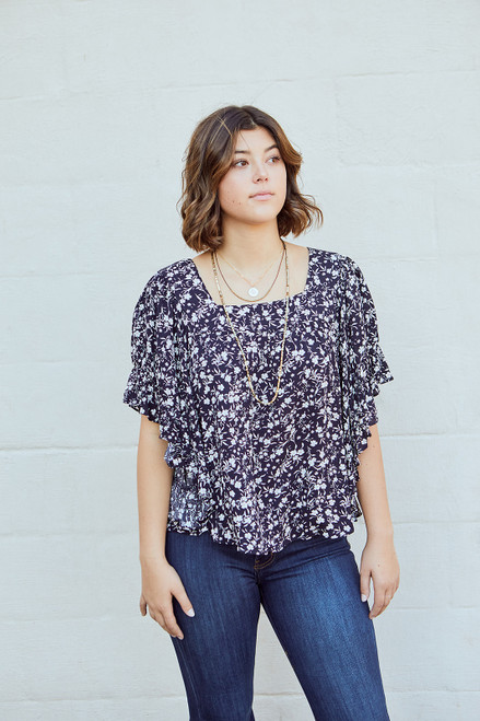 Floral Baby Doll Top - Navy