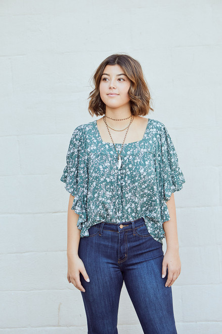 Floral Baby Doll Top - Olive