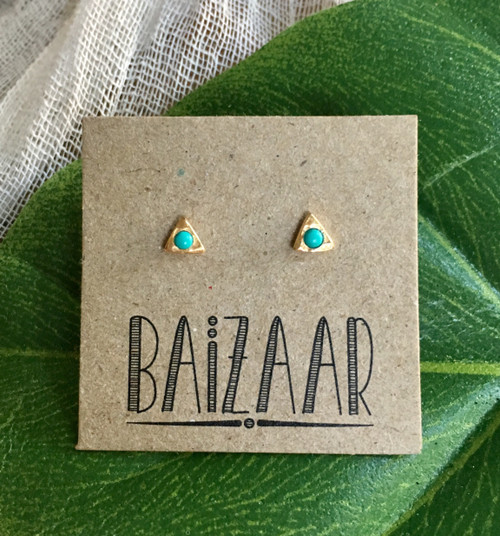 Tiny Turquoise Studs - Silver