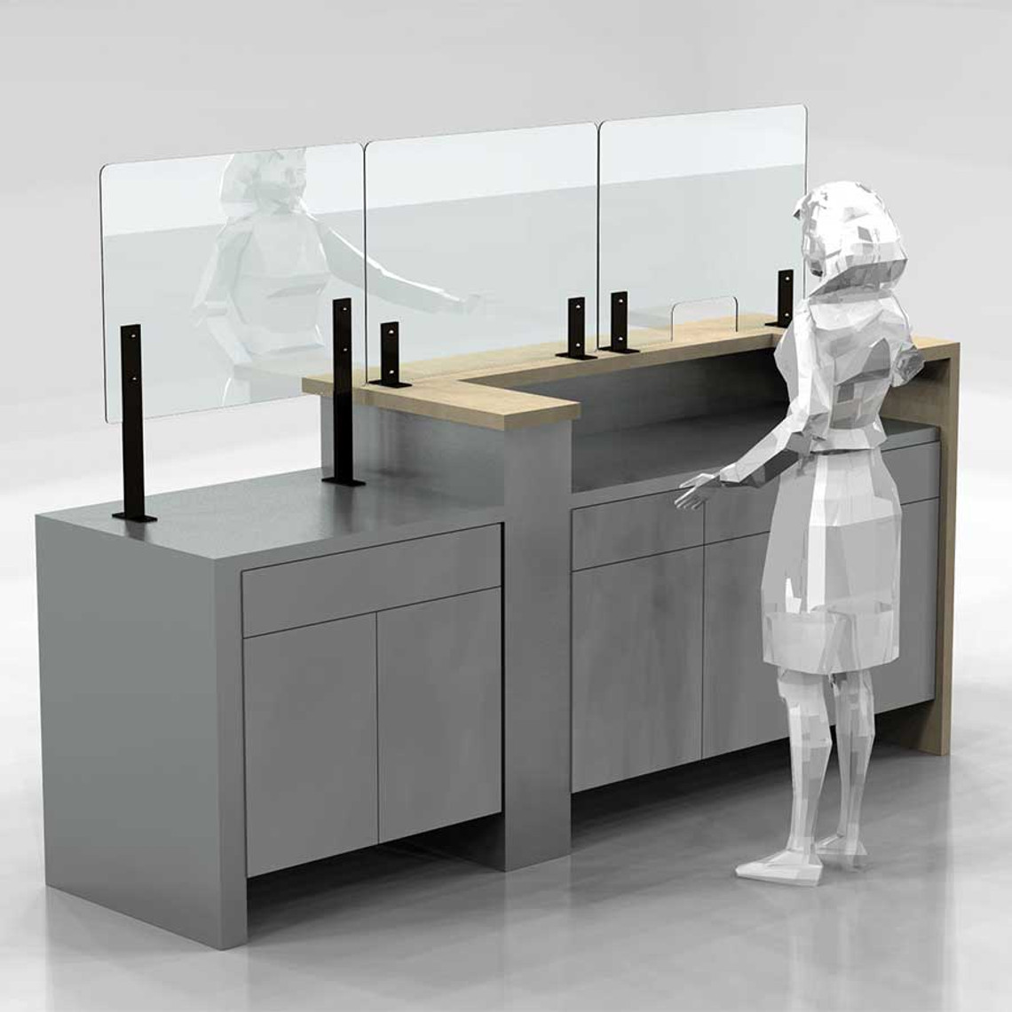 Three PlexiShield sneeze guards on steel legs attached to the Point of Sale counter. Ideal for creating a safe barrier between the customer and the server.