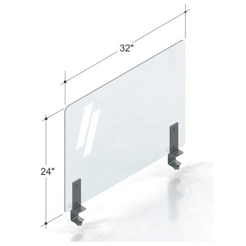 "32""(81.28cm) PlexiShield sneeze guard with steel clamps."