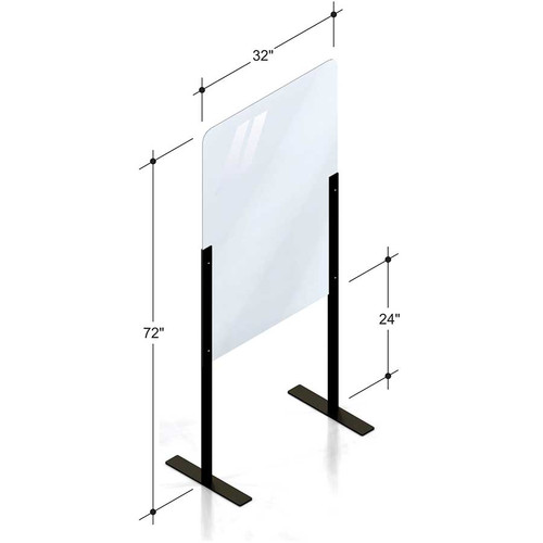 "32""(81.28 cm) floor standing PlexiShield sneeze guard raised 24""(60.96 cm) above ground."