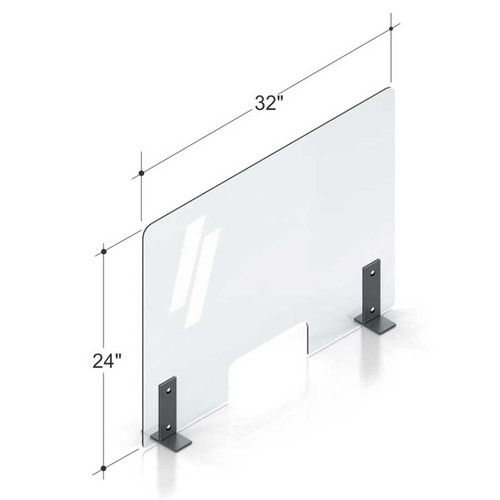 "32""(81.28cm) PlexiShield sneeze guard with a small window for POS systems, standing on steel legs."