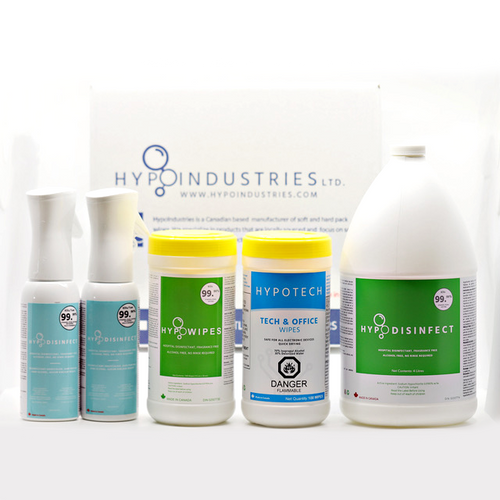 Save money and order our home and business starter kit.  Includes two refillable flairosols filled with our no rinse, low toxicity Health Canada approved hard surface disinfectant.  One canister of Hypotech for your electronic cleaning needs and 4L of Hypodisinfect to top up your flairosols when they run dry.