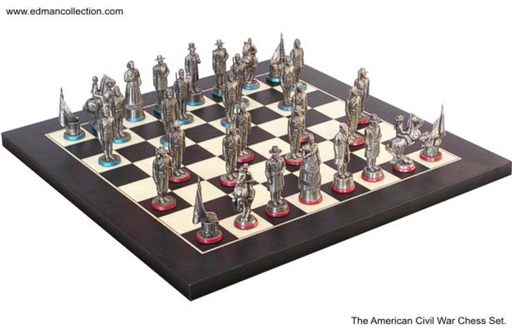 54mm American Civil War Chess Set Antique Finish