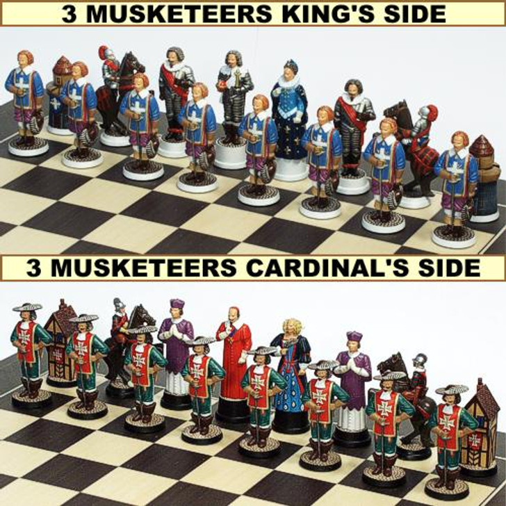 The Three Musketeers Chess Set - Kings vs Cardinal Sides