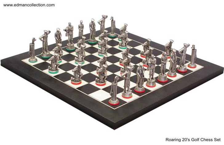 Gold Roaring 20's Chess Set Antique Finish