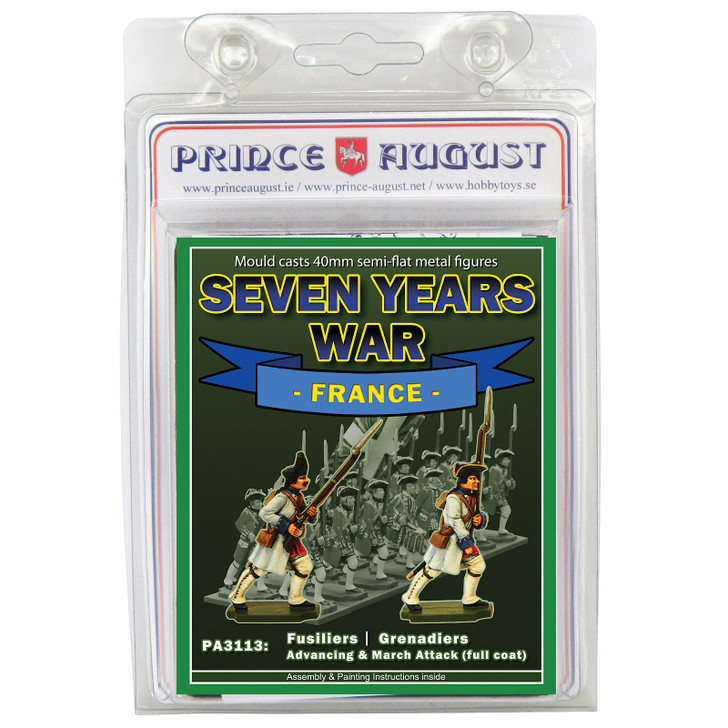 PA3113 Seven Years War France: Infantry Fusiliers and Grenadier in full coat blister.