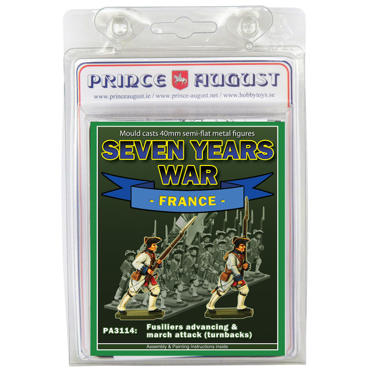 PA3114 Seven Years War France: Fusiliers advancing & march attack in turnbacks blister