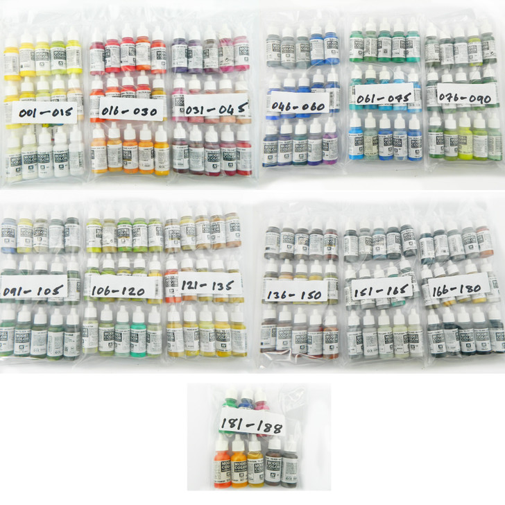 Vallejo Model Colors acrylic paints. 188 in total.