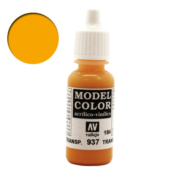 Transparent Yellow Vallejo Model Color Acrylic Paint 70937