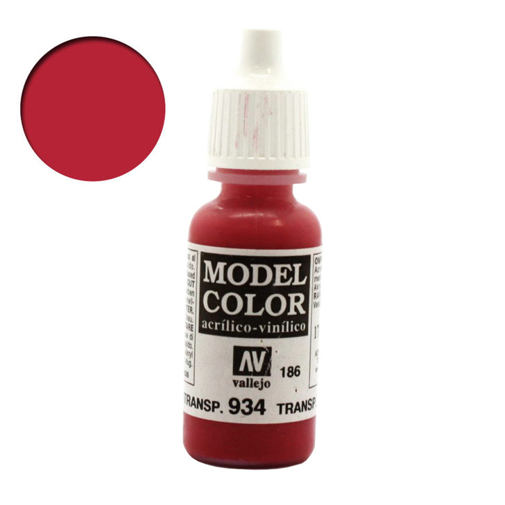 Transparent Red Vallejo Model Color Acrylic Paint 70934