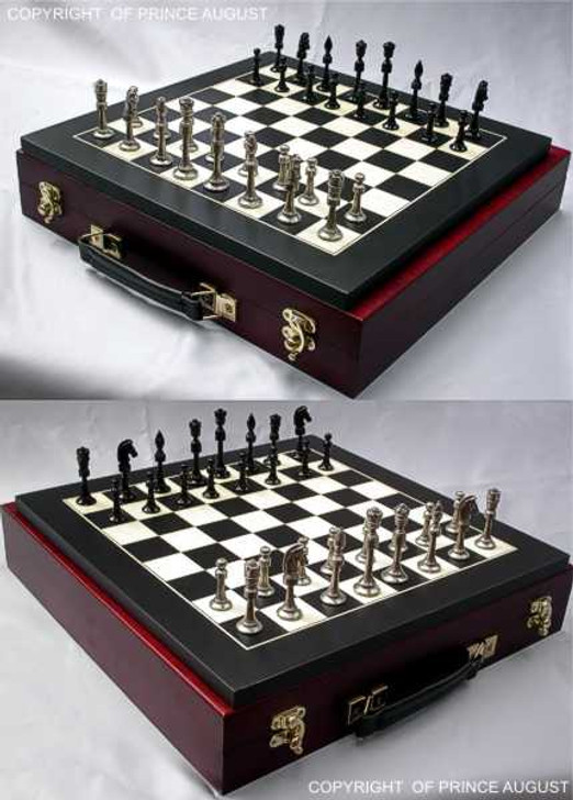 Staunton chess set after being cast and one side polished and the other painted black. Board sold separately. Display case unavailable.