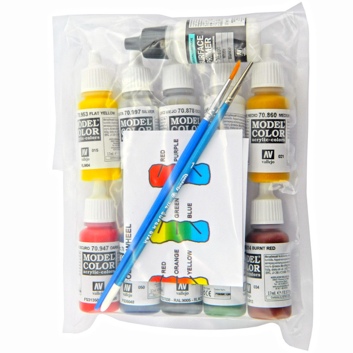 medium paint pack of 17ml bottles of acrylic paints and 2 paint brushes