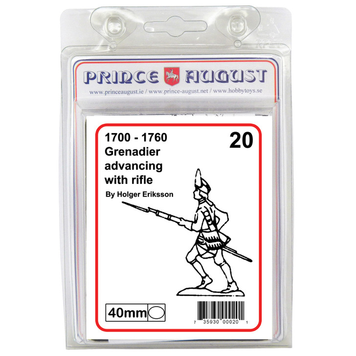 PA20 18th Century Grenadier advancing with rifle blister