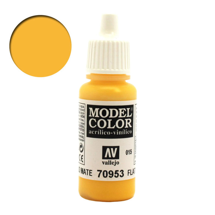 Flat Yellow Vallejo Model Color Acrylic Paint 70953