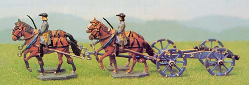 18th Century Artillery Cannon, Limber and Horses