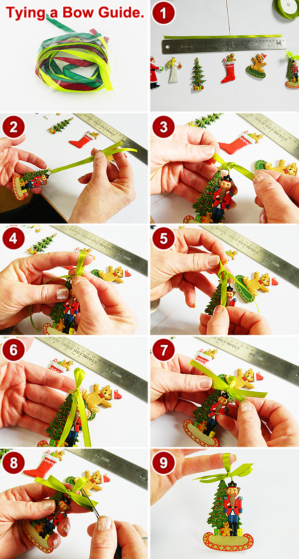 How to tie a bow on a Christmas decoration