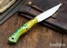 Lon Humphrey Knives: Bird & Trout AEB-L - Green & Gold Box Elder Burl - Yellow Liners - 092833