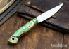 Lon Humphrey Knives: Bird & Trout AEB-L - Green & Orange Box Elder Burl - Orange Liners - 092843