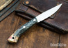 Lon Humphrey Knives: Bird & Trout AEB-L - Red & Black Box Elder Burl - Black Liners - 092848