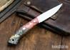 Lon Humphrey Knives: Bird & Trout AEB-L - Red & Black Box Elder Burl - Black Liners - 092849