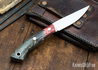 Lon Humphrey Knives: Bird & Trout AEB-L - Red & Black Box Elder Burl - Blue Liners - 092854