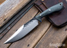 Lon Humphrey Knives: Hickok - Forged 52100 - Black Storm Maple - Blue Liners - 120337