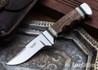 Alan Warren Custom Knives: #2423 Trailing Point Hunter - Curly Koa - Giraffe Bone & Blackwood Spacers - CPM-154